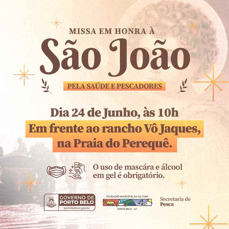 PORTO BELO - Missa em honra a São João será realizada na Praia do Perequê