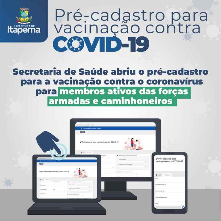 Saúde abre pré-cadastro para a vacinação contra a COVID-19 para caminhoneiros e profissionais das forças armadas