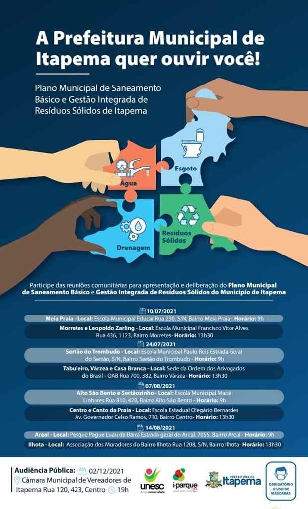 Reuniões para Revisão do Plano Municipal de Saneamento Básico retornam neste sábado (24/07)