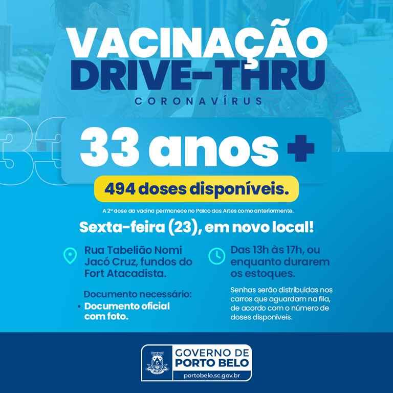 PORTO BELO - Porto Belo realiza Drive-Thru para vacinação nesta sexta-feira