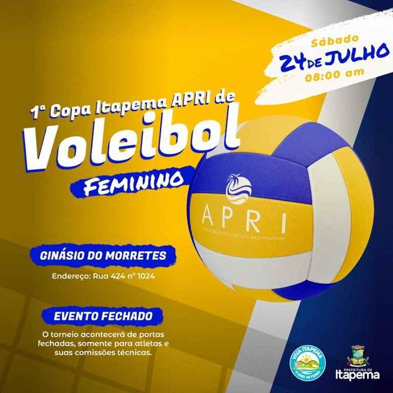 Sábado (24/07) tem 1ª Copa Itapema APRI de Voleibol Feminino