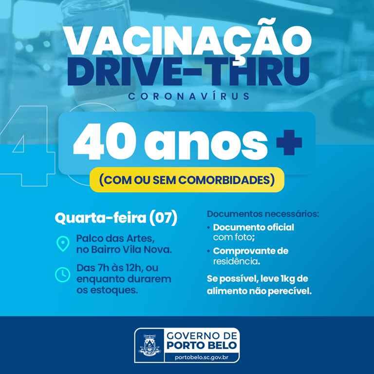 PORTO BELO - Porto Belo vacina pessoas com 40 anos ou mais