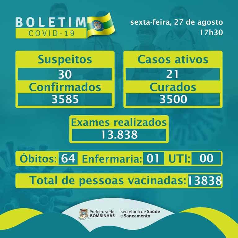 BOMBINHAS - BOLETIM CORONAVÍRUS - BOMBINHAS - 27-08-2021