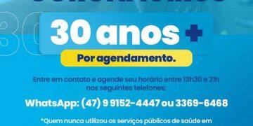PORTO BELO - Porto Belo vacina pessoas com 30 anos ou mais a partir de agendamento