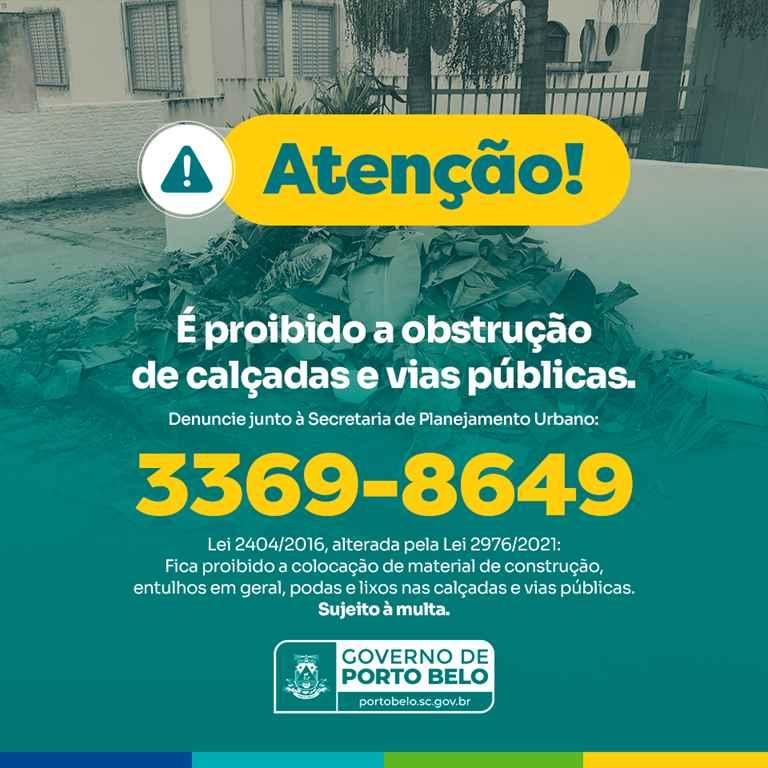 PORTO BELO - Obstrução de calçadas devem ser denunciadas à Secretaria de Planejamento de Porto Belo
