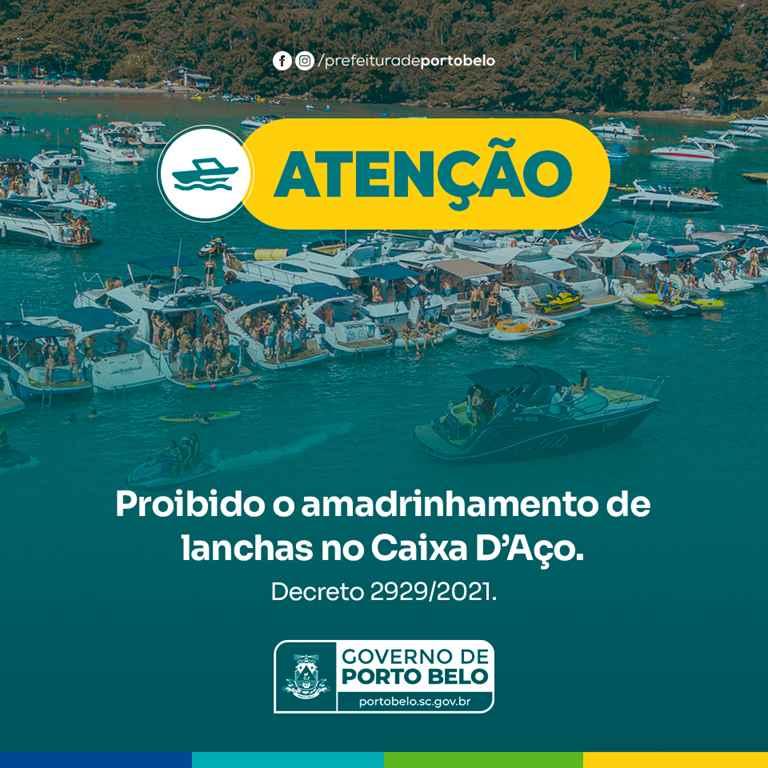 PORTO BELO - Porto Belo proíbe amadrinhamento de lanchas no Caixa D'Aço