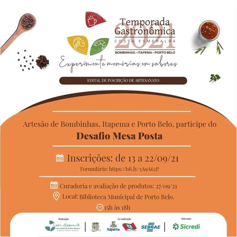Artesãos poderão expor produtos no lançamento da Temporada Gastronômica da Costa Esmeralda 2021