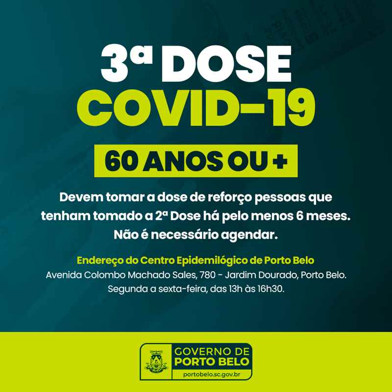 PORTO BELO - Porto Belo aplica 3ª dose da vacina contra o coronavírus em idosos com 60 anos ou mais