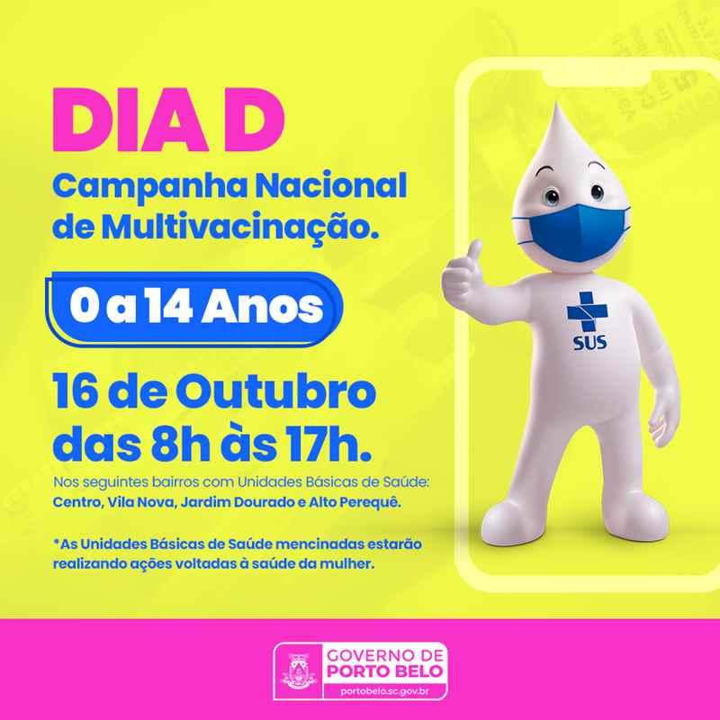 PORTO BELO - Porto Belo terá Dia D da Multivacinação