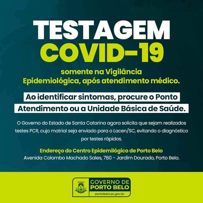 PORTO BELO - Testagens para Covid-19 em Porto Belo passam a acontecer somente no Centro Epidemiológico