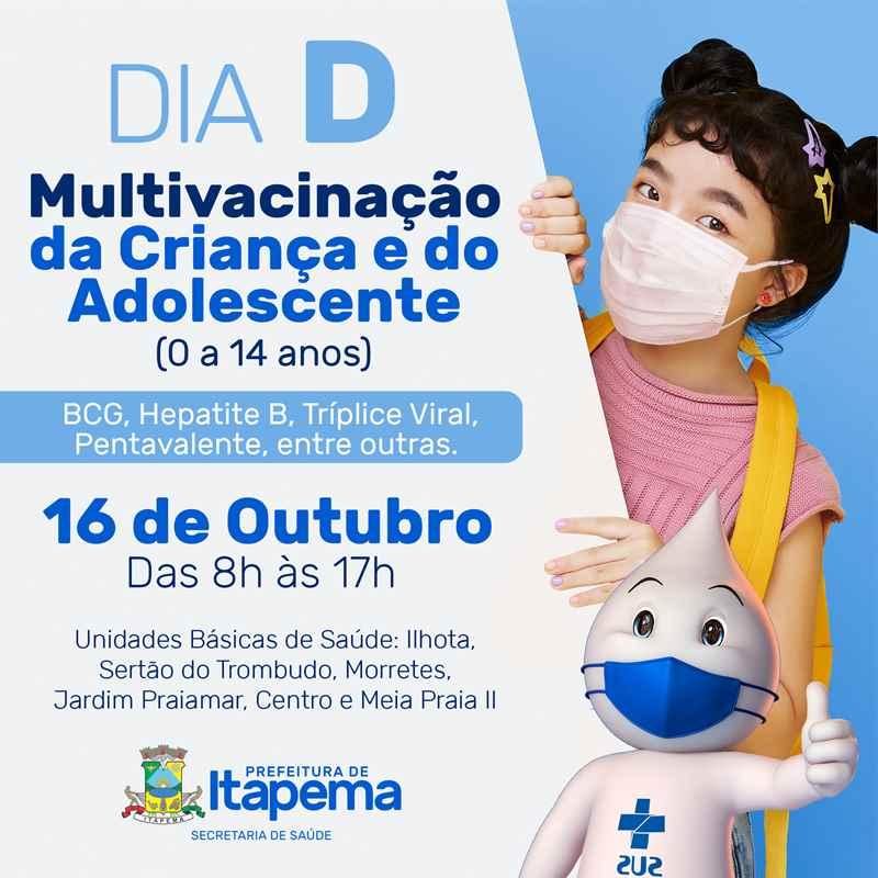 """Itapema terá """"Dia D"""" de Multivacinação para crianças e adolescentes neste sábado (16/10)"""