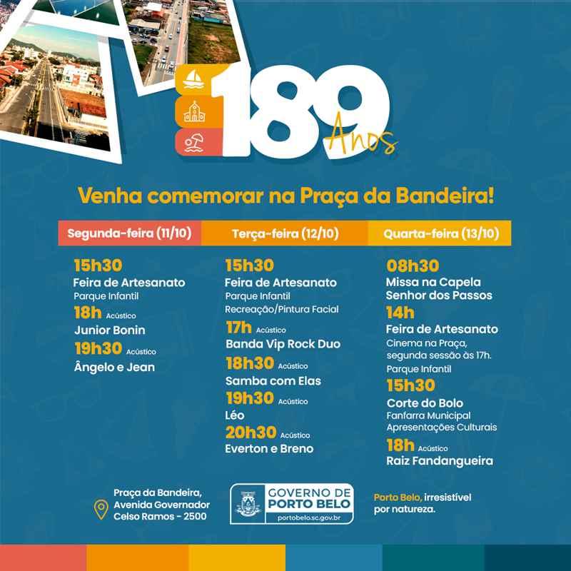 PORTO BELO - Porto Belo terá programação especial para celebrar seus 189 anos