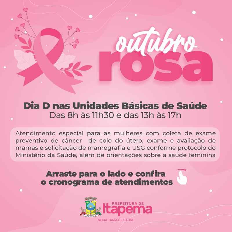 Sábado (09/10) tem programação especial do Outubro Rosa na UBS Ilhota