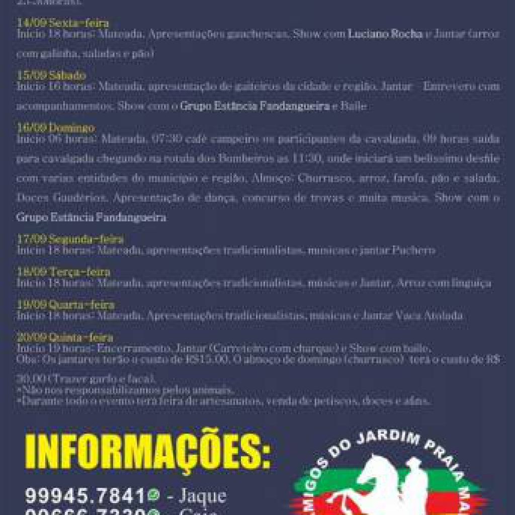 I Semana Farroupilha será com programação variada em Itapema